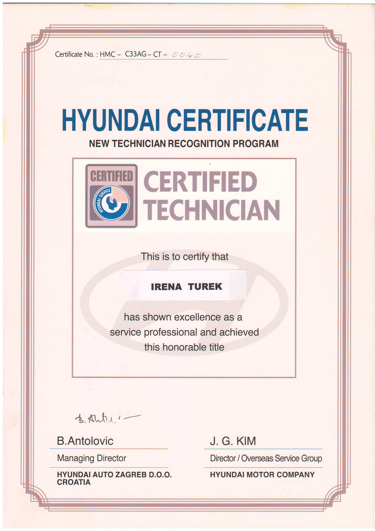 Picture of Hyundai - Certified Tehnician