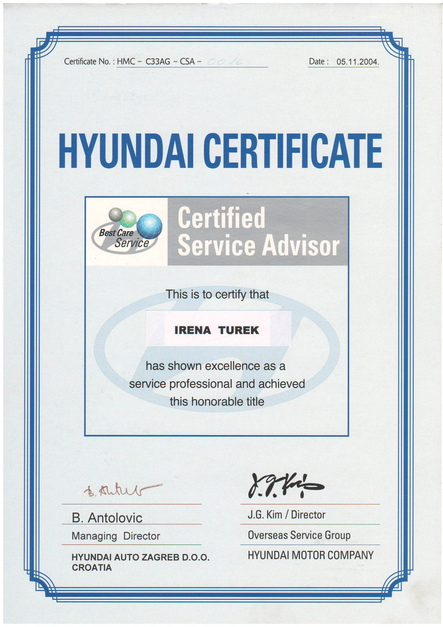 Picture of Hyundai - Certified servide advisor